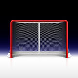Ishockey förtjänar, målet på svart Royaltyfri Fotografi