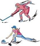 Ishockey och krulla royaltyfri illustrationer