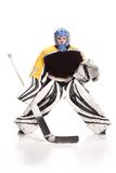 Ishockeygoalie Arkivbild