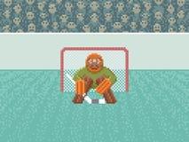 Ishockeymålvakt - PIXEL Art Illustration Fotografering för Bildbyråer