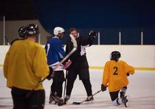 Ishockeyspelare i handling Arkivfoton