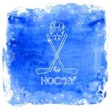 Ishockeytillbehör på en vattenfärgbakgrund Royaltyfri Fotografi