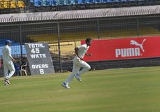 Ishwar Pandey Running-up to Bowl Stock Photo