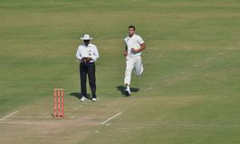 Ishwar Pandey Running-up to Bowl Royalty Free Stock Images