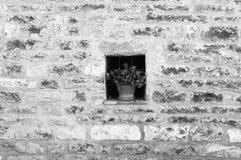 Iside d'isolement d'usine une fenêtre sur un mur de briques Images libres de droits