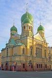 Isidorovskaya教会在春天在圣彼德堡 库存图片