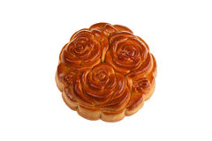 Isilated Moon Cake with Flowers. Vietnam Stock Image