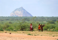 ISIOLO, KENYA - NOVEMBER 28, 2008: Women of the wild african tri Royalty Free Stock Images