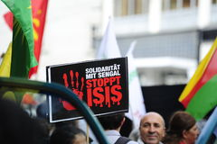 ISIS demonstration against terrorism in Iraq. Demonstration of the Revolutionary Communist Organization of Turkey in Vienna against the ISIS massacre in Vienna Stock Photos