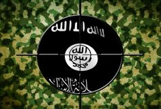 ISIS flag on target. Close up of ISIS flag on target Stock Image