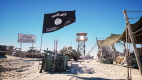 ISIS flag on terrorist base, headquarters. Desert landscape. Terrorism concept.