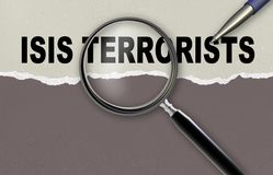 ISIS TERRORISTS. Word ISIS TERRORISTS and magnifying glass with pencil made in 2d software Royalty Free Stock Photo