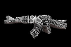 ISIS word cloud in a shape of Rifle Royalty Free Stock Image