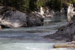 Iskall bergflod som är scenisk i den Kootenay nationalparken arkivfoton