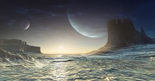 Iskall främmande planet royaltyfri illustrationer