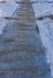Iskall trottoar och grus Fotografering för Bildbyråer