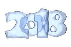 2018 iskalla text för lyckligt nytt år Arkivfoto