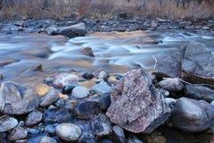 Iskallt kallt vatten flödar ner den Poudre floden på en kylig morgon Royaltyfria Bilder