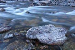 Iskallt kallt vatten flödar ner den Poudre floden på en kylig morgon Royaltyfri Foto