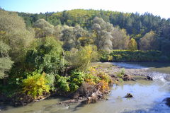 Iskar river,Bulgaria. Iskar river in autumn scenery,Balkan mountains,Bulgaria stock photography