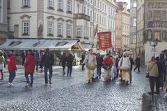 ISKCON members at a rally in Prague Stock Images