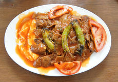 Iskender kababs in tomato sauce  in a local restaurant  in Bursa Royalty Free Stock Images