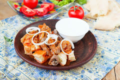 Iskender kebab - traditional turkish food Stock Image