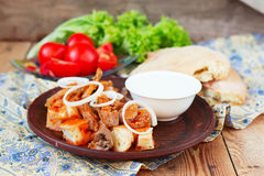 Iskender kebab - traditional turkish food Royalty Free Stock Photo