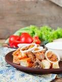 Iskender kebab - traditional turkish food.  royalty free stock image