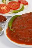 Iskender kebap. With salads and yogurt Stock Image