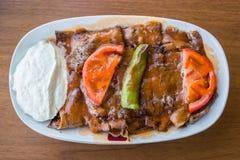 Iskender/nourriture traditionnelle turque Photos libres de droits