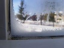 Iskristaller i fönster arkivbild