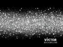 Iskrzasta błyskotliwości granica na czarnym tle Srebny prostokąt błyskotliwość confetti, wektorowy pył royalty ilustracja