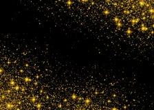 Iskrzastych tła złota świecących gwiazd Gwiazdowy pył iskrzy royalty ilustracja