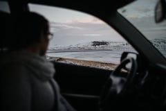 Islândia através de uma janela de carro Fotos de Stock Royalty Free