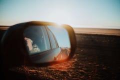 Islândia através do espelho traseiro Fotografia de Stock