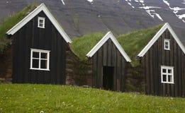 Islândia. Casas de madeira islandêsas tradicionais. Islândia norte. Foto de Stock
