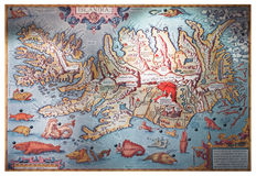Islândia - em julho de 2008: Mapa velho Fotografia de Stock Royalty Free