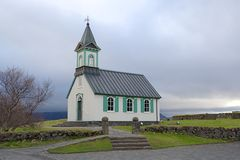 Isländische Kirche in Nationalpark Thingvellir in Island Stockbild