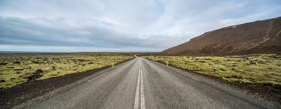 Isländische Landschaft mit Landfahrbahn Lizenzfreie Stockfotografie