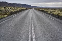 Isländische Landschaft mit Landfahrbahn Stockfotografie