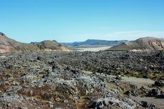 Isländische Landschaft Schöne Berge und vulkanischer Bereich mit Lizenzfreies Stockbild