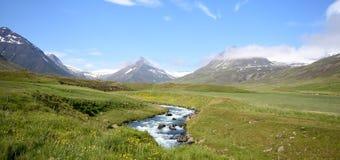 Isländsk bergsikt Arkivfoto
