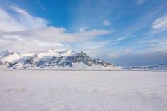 Isländsk landascape, snööken Royaltyfria Foton