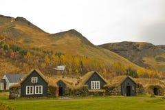 Isländska grassroofhus Arkivbilder