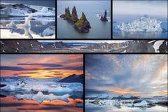 Isländska landskap collage fotografering för bildbyråer