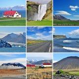 Isländskt landskap - collage arkivbild
