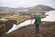 Isländskt landskap - sikt på den fantastiska dalen Royaltyfri Fotografi