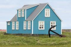 Isländskt trähus Arkivbild