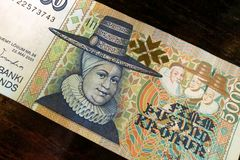 Isl?ndsk kassa Pengar av Island E Den isl?ndska kronaen ?r den nationella valutan av Island arkivfoto